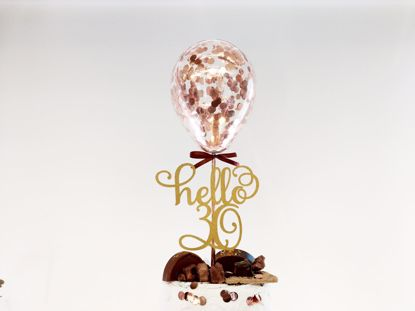 Picture of Rose Gold Balloon Confetti Cake Topper Hello 30