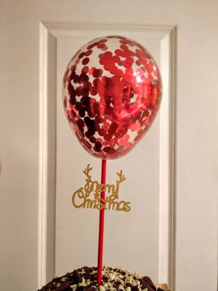 Picture of Christmas Balloon Red Confetti Cake Topper