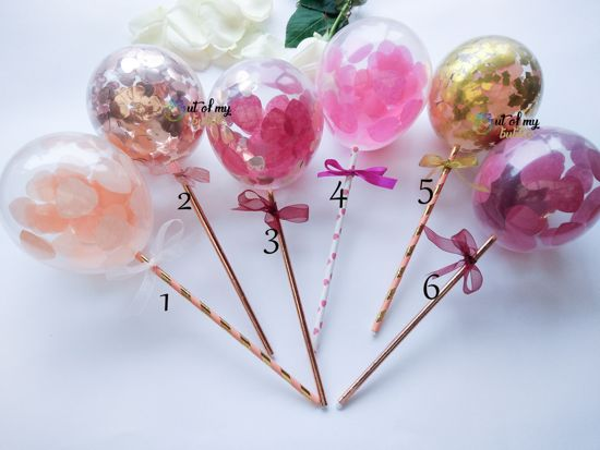 Picture of Rose Gold Cake Topper  Balloon Confetti Designs