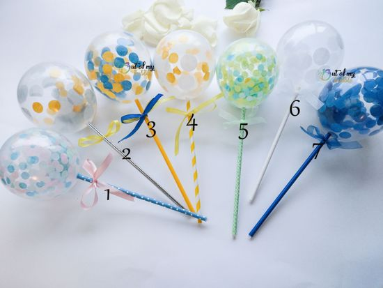 Picture of Cake Topper  Balloon Confetti Designs Blue