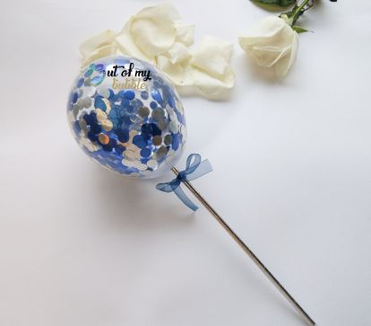 Picture of Cake topper Balloon Confetti Royal Blue Silver