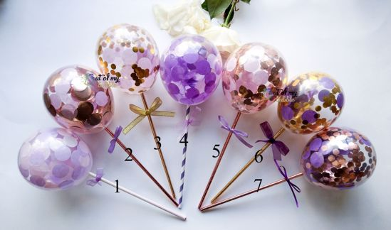 Picture of Cake Topper  Balloon Confetti Designs Purple Lavender