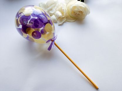 Picture of Cake topper Balloon Confetti Royal Purple Yellow