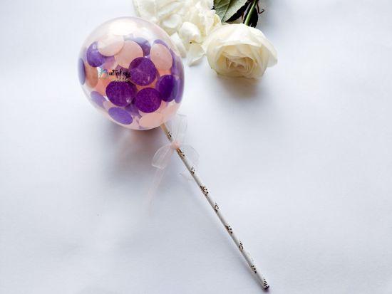 Picture of Cake topper Balloon Confetti Royal Purple Peach Hearts