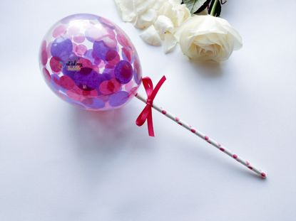 Picture of Cake topper Balloon Confetti Royal Purple Hot Pink