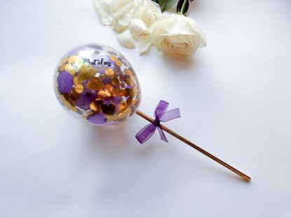 Picture of Cake topper Balloon Confetti Royal Purple Gold