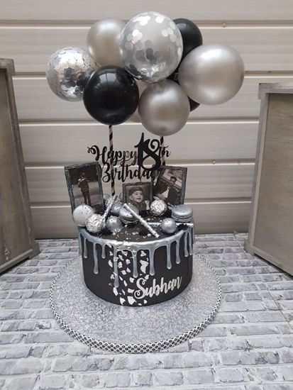 Picture of Balloon Cake Topper Mini Garland Silver
