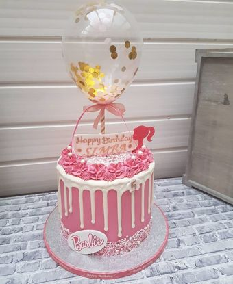 Picture of Balloon Cake Topper Confetti Gold Pink