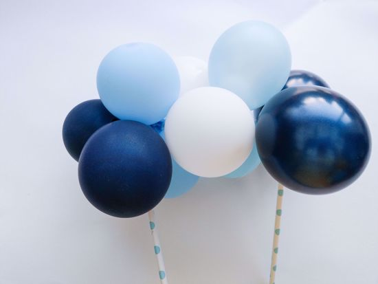 Picture of Balloon Cake Topper Mini Garland White Light Blue Navy
