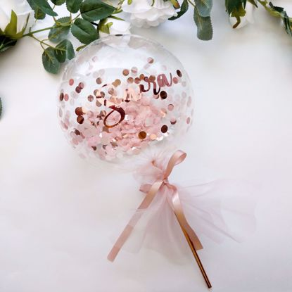 Picture of Balloon Cake Topper Confetti Rose Gold Pink Custom Name