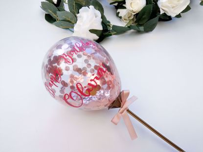 Picture of Balloon Cake Topper Confetti Rose Gold Custom Name Birthday