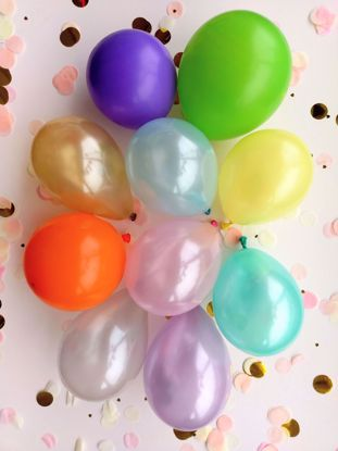 """Picture of 5"""" PASTEL LATEX MINI BALLOONS PURPLE GOLD"""