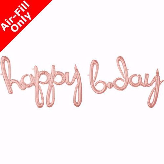 Picture of Happy Bday Rose Gold Balloon Script Cursive Garland