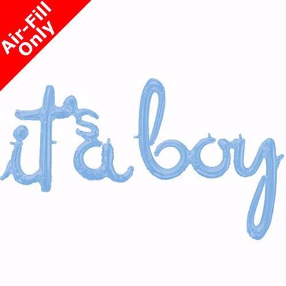 Picture of Its a Boy Blue Balloon Script Cursive Garland