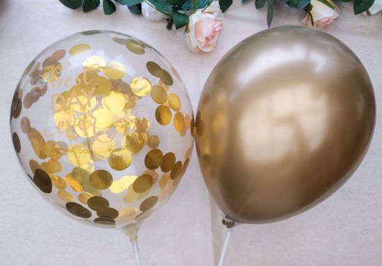 Picture of Best Day Ever Clear Confetti Balloons Gold Chrome