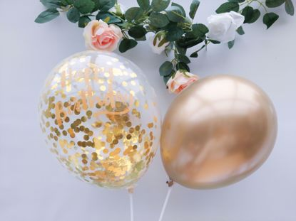 Picture of Happy Birthday Confetti Balloons Gold Chrome