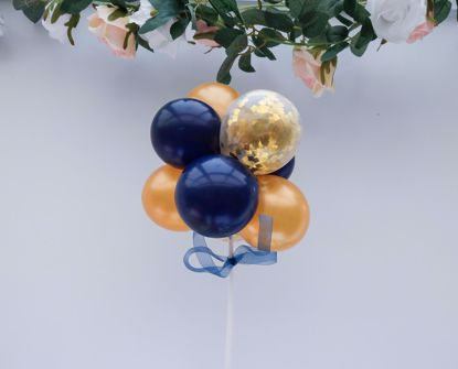 Picture of Balloon Cake Topper Mini Garland Navy Gold Confetti