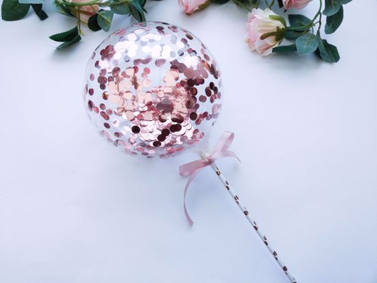 Picture of Balloon Cake Topper Bubble Rose Gold Silver Confetti