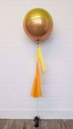 "Picture of 16"" Ombre Yellow Orange Balloon with tassels"