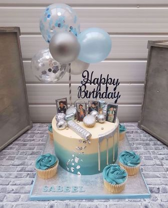 Picture of Balloon Cake Topper Mini Garland Blue Silver White