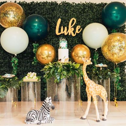 Picture of Gold Balloons Confetti Bouquet Animal Decor Safari Tropical