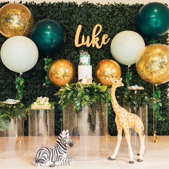 Picture of Gold Balloons Confetti Bouquet Animal Decor Safari Tropical