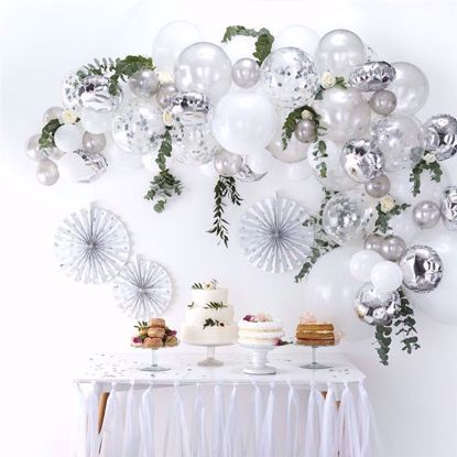 Picture of Silver Balloon Garland Arch - 70 Balloons
