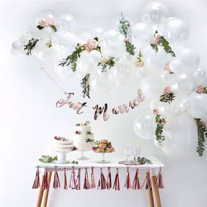 Picture of White Balloon Garland Arch - 70 Balloons