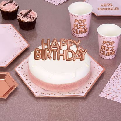 Picture of Happy Birthday Rose Gold Cake Topper Card