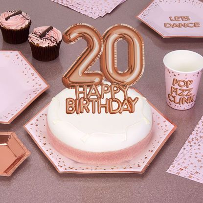 Picture of Happy Birthday Rose Gold Cake Topper Card 20