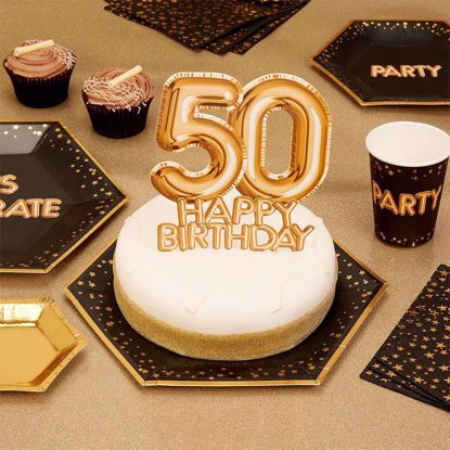 Picture of Happy Birthday  Gold Cake Topper Card 50