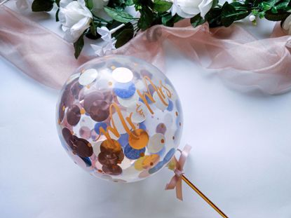 Picture of Balloon Cake Topper Confetti Mr Mrs Gold