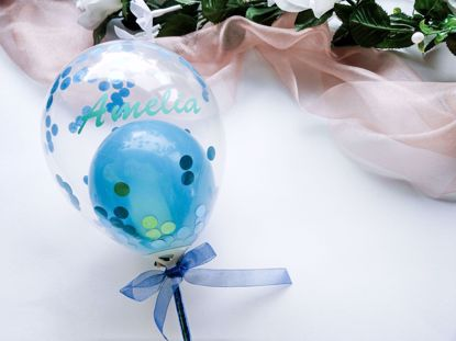Picture of Balloon Cake Topper Confetti Blue Teal