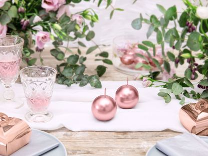 Picture of Rose Gold Candles Sphere 8 cm