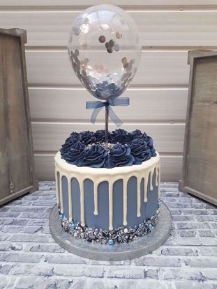 Picture of Balloon Cake Topper Silver Confetti Navy Ribbon
