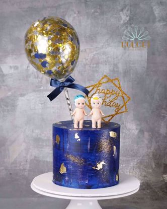 Picture of Cake topper Balloon Confetti Gold  Navy Ribbon