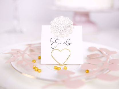 Picture of GOLD PLACE CARD HOLDER WEDDING DECORATIONS - HEARTS