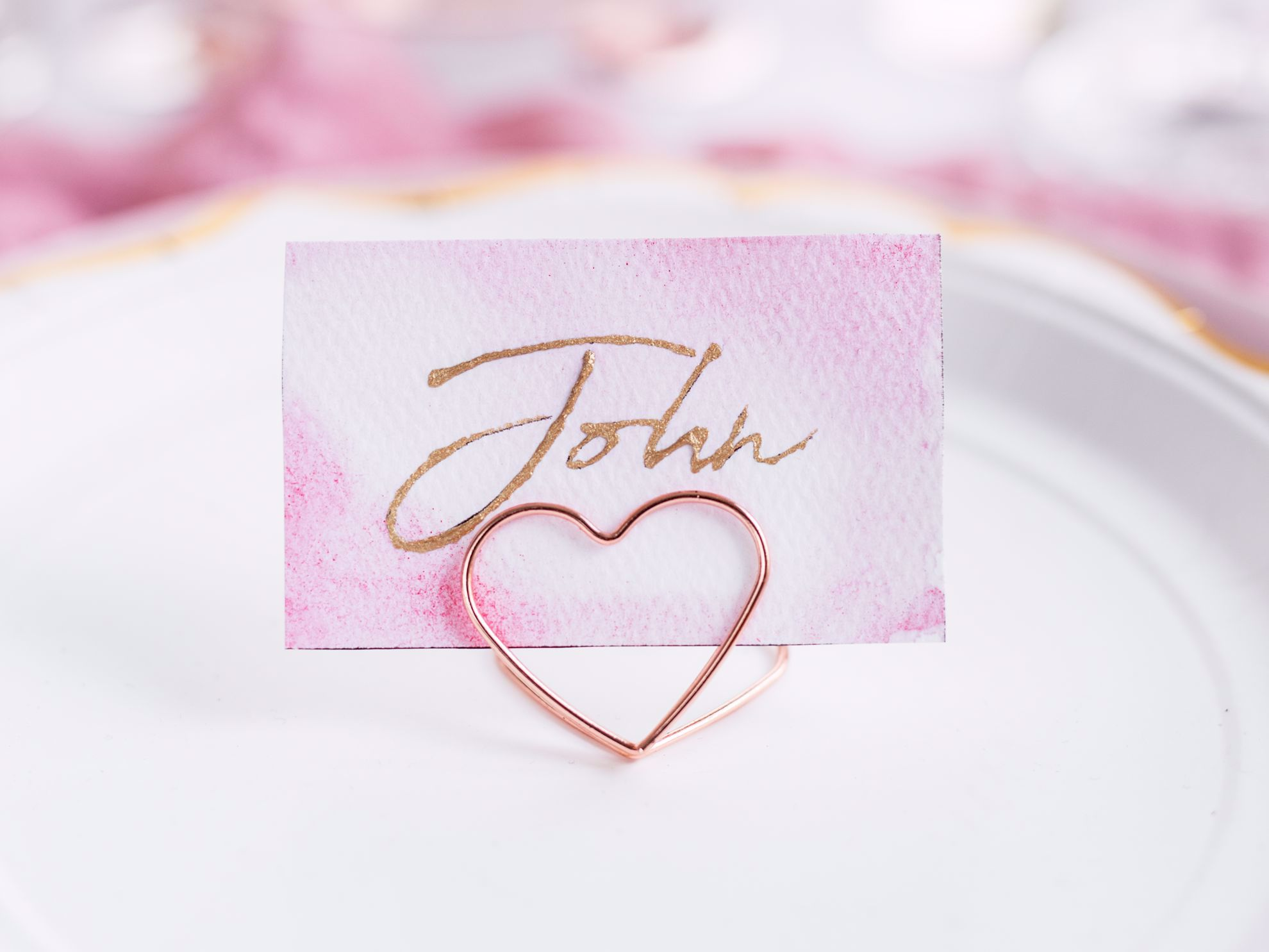 ROSE GOLD PLACE CARD HOLDER WEDDING DECORATIONS - HEARTS
