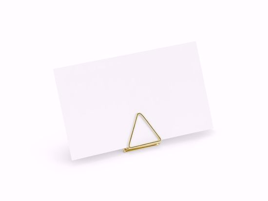 Picture of GOLD PLACE CARD HOLDER WEDDING DECORATIONS - TRIANGLE