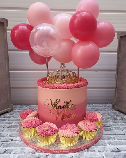 Picture of Balloon Cake Topper Mini Garland Hot Pink