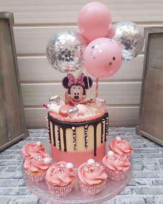 Picture of Balloon Cake Topper Mini Garland Pink  Silver Confetti