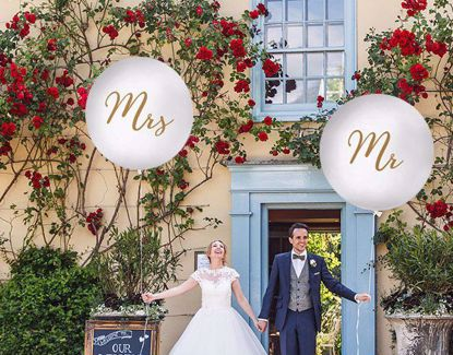 Picture of Gold  Balloons Mr Mrs White  Wedding Venue Decor