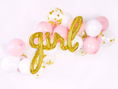 Picture of Girl Gold Script Balloon