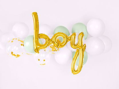 Picture of Boy Gold Script Balloon
