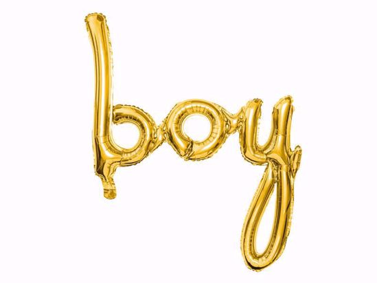 Picture of Boy Gold Script Balloon Arch