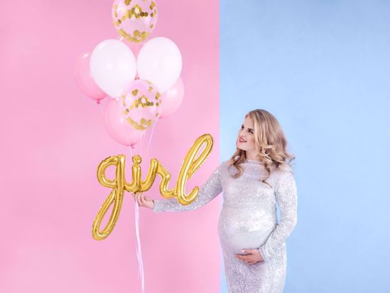 Picture of Girl Gold Script Balloon Bouquet