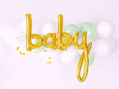 Picture of Baby Gold Script Balloon Arch Mint