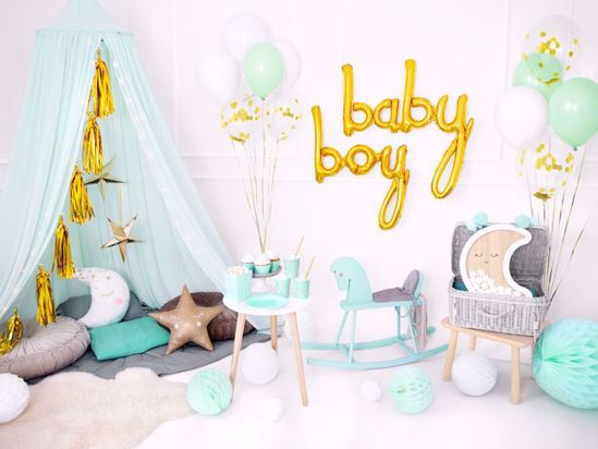 Picture of Baby Boy Gold Script Balloons