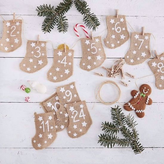 Picture of HESSIAN CHRISTMAS ADVENT CALENDAR STOCKINGS - LET IT SNOW