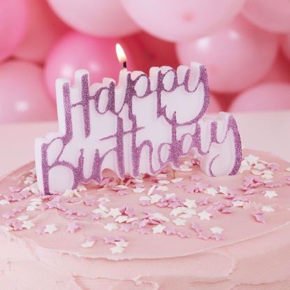 Picture of PINK GLITTER HAPPY BIRTHDAY CAKE CANDLE